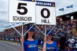 Grid girl of Michael Schumacher,Benetton and grid girl of Damon Hill, Williams
