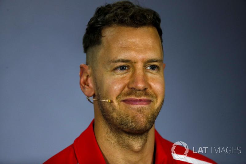 Sebastian Vettel, Ferrari, nella conferenza stampa del giovedì
