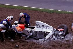 Michael Andretti, McLaren Ford MP4/8 after the crash