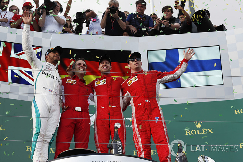 Lewis Hamilton, Mercedes-AMG F1, Sebastian Vettel, Ferrari and Kimi Raikkonen, Ferrari celebrate on the podium