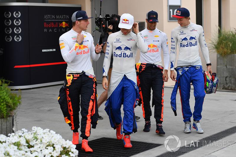 Max Verstappen, Red Bull Racing, Pierre Gasly, Scuderia Toro Rosso, Daniel Ricciardo, Red Bull Racing y Brendon Hartley, Scuderia Toro Rosso