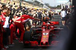 Maurizio Arrivabene, Team Principal, Ferrari, shakes the hand of Sebastian Vettel, Ferrari SF71H, 1st position, as he brings his car in to Parc Ferme