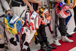 Helmets of Sergio Sette Camara, Carlin, George Russell, ART Grand Prix, Jack Aitken, ART Grand Prix,