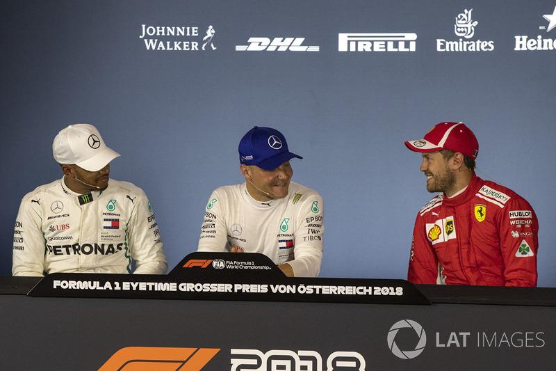 Lewis Hamilton, Mercedes-AMG F1, Valtteri Bottas, Mercedes-AMG F1 and Sebastian Vettel, Ferrari in the Press Conference