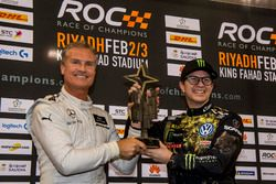 Winner David Coulthard and Petter Solberg celebrate on the podium