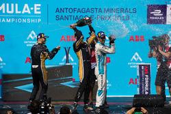 Jean-Eric Vergne, Techeetah, Andre Lotterer, Techeetah enjoy their Mumm Champagne on the podium with