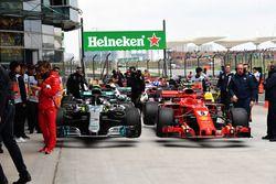The cars of Valtteri Bottas, Mercedes-AMG F1 W09 EQ Power+ and Sebastian Vettel, Ferrari SF71H in parc ferme