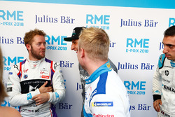 Felix Rosenqvist, Mahindra Racing, talking with Sam Bird, DS Virgin Racing, Mitch Evans, Jaguar Racing