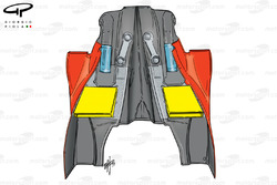 Ferrari F399 sidepod and engine cover (outlets highlighted in yellow)