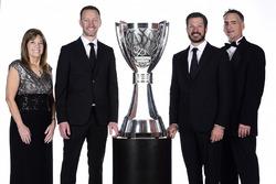 2017 champion Martin Truex Jr., Furniture Row Racing Toyota, crew chief Cole Pearn, Carolyn Visser, Furniture Row Racing team president Joe Garone