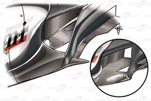 McLaren MP4-20 2005 bargeboard comparison