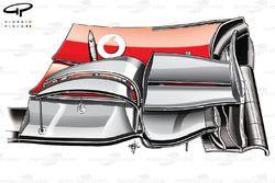 Переднее антикрыло McLaren MP4-27 (модификация, которая использовалась до Сильверстоуна)