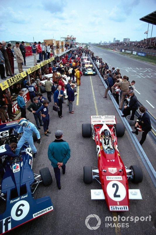 Jacky Ickx, Ferrari 312B2, Francois Cevert, Tyrrell 002 Ford