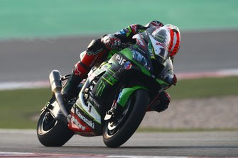 Jonathan Rea, Kawasaki Racing Team looking down at his bike