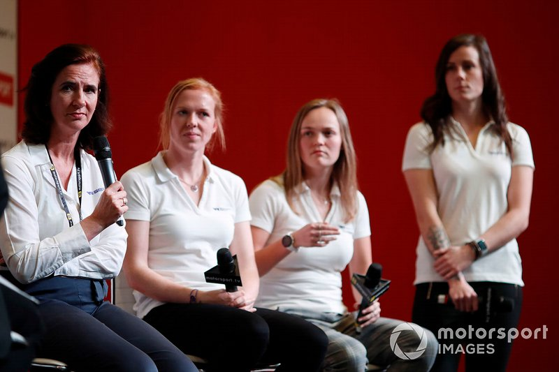 Catherine Bond Muir, W Series CEO, and W Series drivers Alice Powell, Sarah Moore and Abbie Eaton are interviewed on the Autosport stage