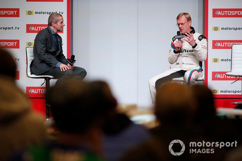 Presenter Stuart Codling interviews Ari Vatanen on the Autosport stage