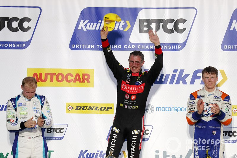 BTCC Race 3 Podium, Ashley Sutton, Team BMR Subaru Levorg, Jason Plato, Power Maxed Racing Vauxhall and Rory Butcher, AmD Tuning Honda Civic