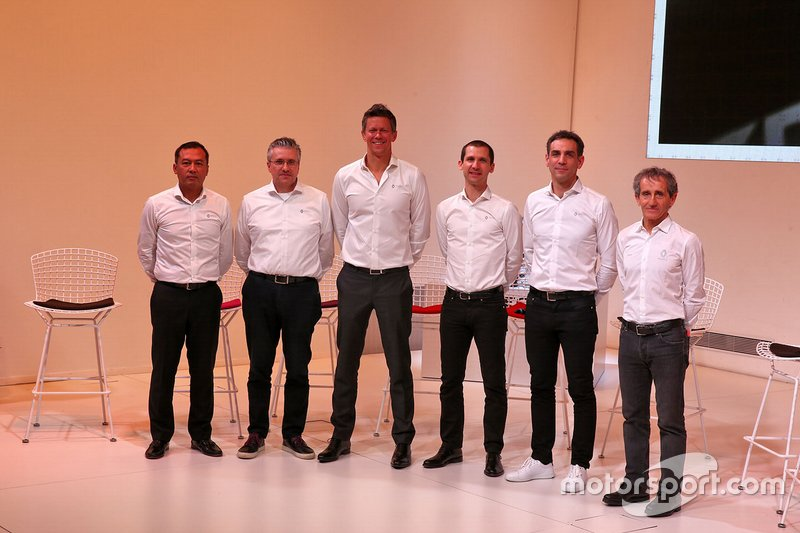 Pat Fry, Renault F1 Team Technical Director (Chassis); Marcin Budkowski, Renault F1 Team Executive Director; Remi Taffin, Renault Sport F1 Engine Technical Director; Mia Sharizman, Renault Sport Academy Director; Cyril Abiteboul, Renault Sport F1 Managing Director; Alain Prost, Renault F1 Team Non-Executive Director