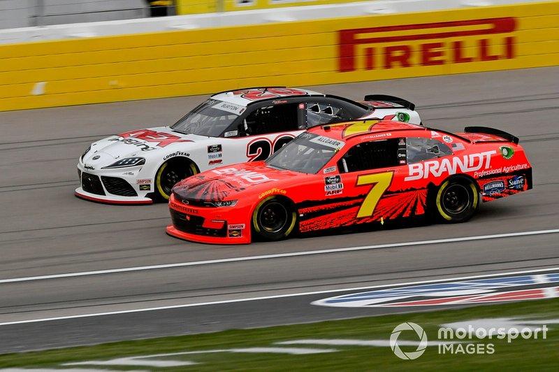 Harrison Burton, Joe Gibbs Racing, Toyota Supra Dex Imaging, Justin Allgaier, JR Motorsports, Chevrolet Camaro BRANDT