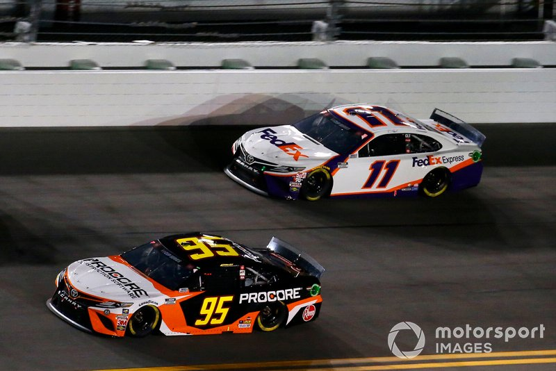Christopher Bell, Leavine Family Racing, Toyota Camry Procore, Denny Hamlin, Joe Gibbs Racing, Toyota Camry FedEx Express