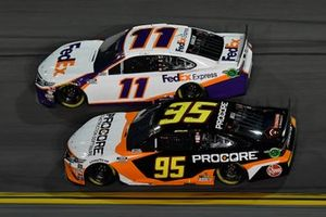 Denny Hamlin, Joe Gibbs Racing, Toyota Camry FedEx Express, Christopher Bell, Leavine Family Racing, Toyota Camry Procore