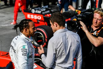 Paul di Resta, Sky Sports F1, interviews Lewis Hamilton, Mercedes AMG F1, after Qualifying