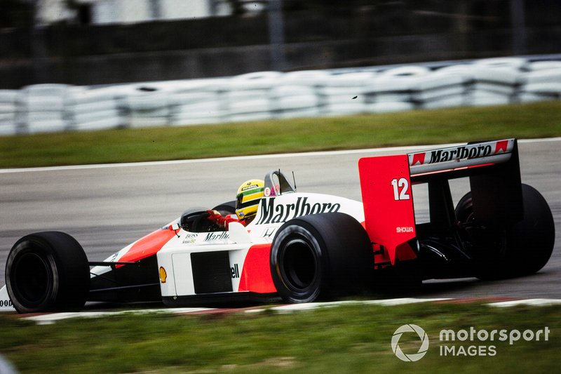 Ayrton Senna, McLaren MP4-4 Honda, joins race in spare car