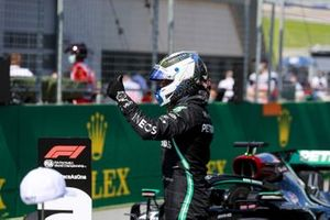 Valtteri Bottas, Mercedes-AMG Petronas F1, celebrates after securing pole