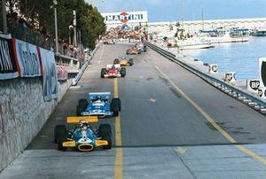 Jack Brabham, Brabham BT33 Ford leads Jean-Pierre Beltoise, Matra MS120 and Jacky Ickx, Ferrari 312B