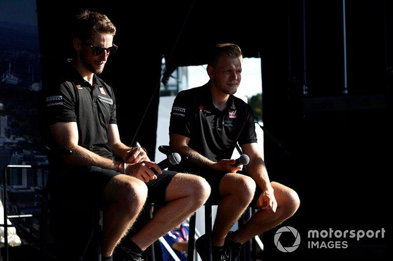 Romain Grosjean, Haas F1 y Kevin Magnussen, Haas F1 Team