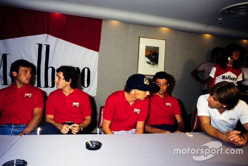 Patrick Tambay, Alain Prost, Niki Lauda, Michele Alboreto and Marc Surer