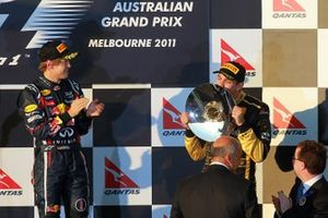 Vitaly Petrov, Lotus Renault GP celebrates his third position on the podium