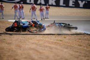 Luca Marini and teammate Marco Bezzecchi, Sky Racing Team VR46 crash