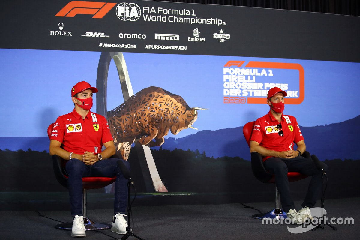 Charles Leclerc, Ferrari and Sebastian Vettel, Ferrari in the press conference