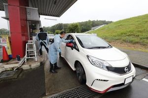Body temperature checks at Fuji Speedway