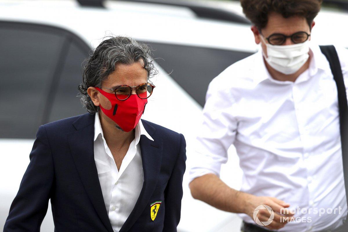 Laurent Mekies, Direttore Sportivo, Ferrari, e Mattia Binotto, Team Principal Ferrari