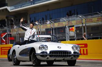 Romain Grosjean, Haas F1 Team, tijdens de rijdersparade