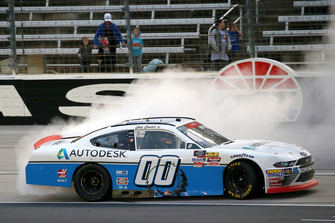 Cole Custer, Stewart-Haas Racing, Ford Mustang Autodesk celebrates his win with a burnout
