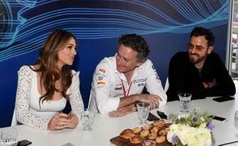 Actors Elizabeth Hurley, Justin Theroux with Alejandro Agag, CEO, Formula E