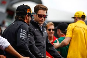 Stoffel Vandoorne, McLaren, and Fernando Alonso, McLaren, on the drivers' parade.