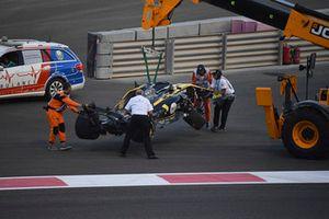 Crash van Nico Hulkenberg, Renault Sport F1 Team R.S. 18