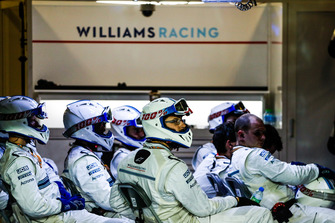 The Williams pit crew in the garage