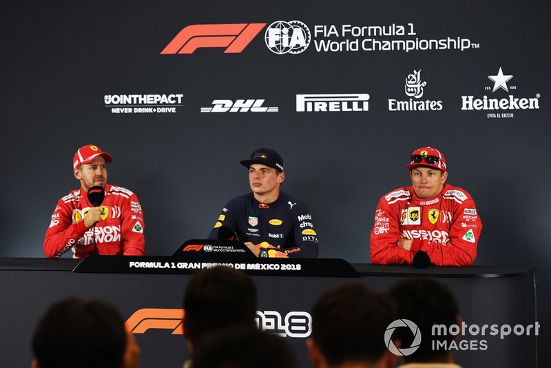 (L to R): Sebastian Vettel, Ferrari, Max Verstappen, Red Bull Racing and Kimi Raikkonen, Ferrari in Press Conference