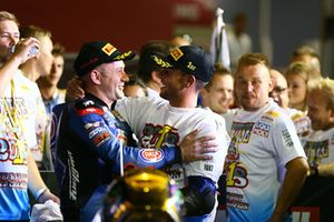 Race winner Lucas Mahias, GRT Yamaha Official WorldSSP Team, WSS Champion Sandro Cortese, Kallio Racing