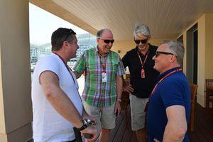 David Croft, Sky TV Commentator, Maurice Hamilton, Damon Hill, Sky TV en Johnny Herbert, Sky TV