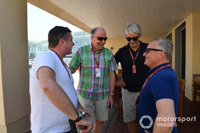 (L to R): David Croft, Sky TV Commentator, Maurice Hamilton, Damon Hill, Sky TV and Johnny Herbert, Sky TV