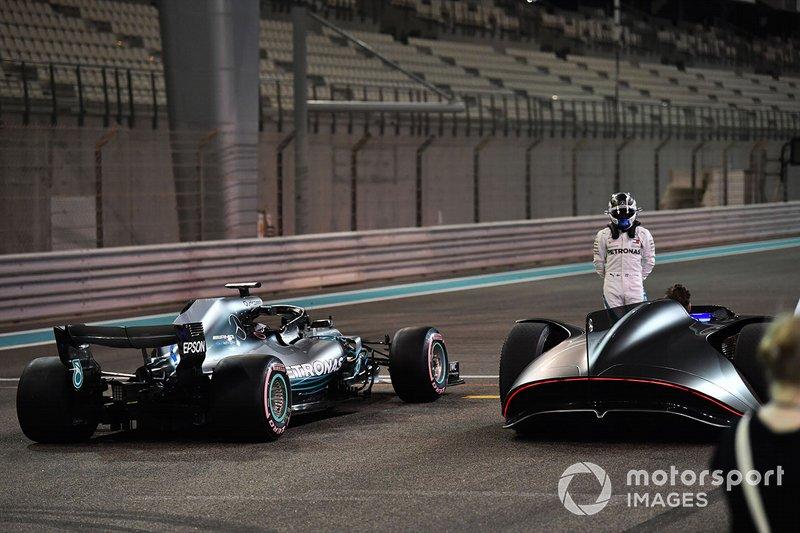 Valtteri Bottas, Mercedes-AMG F1 W09 and Mercedes-Benz, EQ Silver Arrow concept car