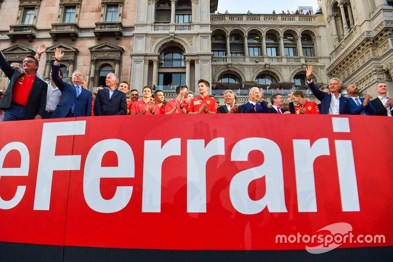 Charles Leclerc, Ferrari stands amongst the Ferrari Academy drivers and former Ferrari F1 drivers and team personnel
