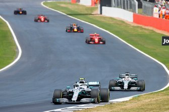 Valtteri Bottas, Mercedes AMG W10, leads Lewis Hamilton, Mercedes AMG F1 W10, Charles Leclerc, Ferrari SF90, and Max Verstappen, Red Bull Racing RB15