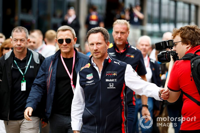 Christian Horner, Team Principal, Red Bull Racing, and Actor Daniel Craig